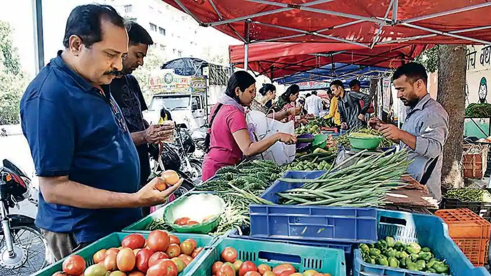 Social distancing norms were found being flouted at a vegetable market in Noida's Sector 88.