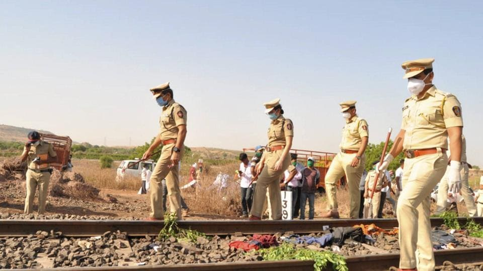 Police personnel inspect the spot after a goods train ran over a group of migrant workers while they were sleeping on the tracks, in Aurangabad district, Friday, May 8, 2020. 14 migrants were killed in the tragedy. (PTI Photo) (PTI08-05-2020_000032B)