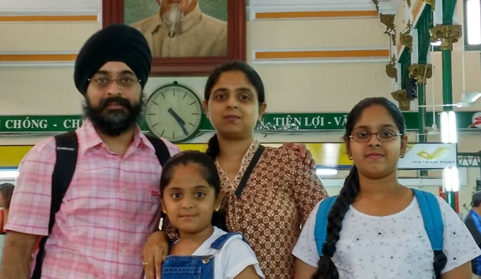 The Arora family during an earlier holiday in Ho Chi Minh City in Vietnam on a holiday.