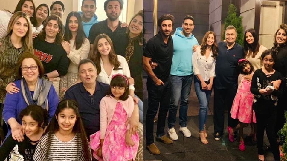 Rishi Kapoor's get-together with family and the Bachchans in New York.