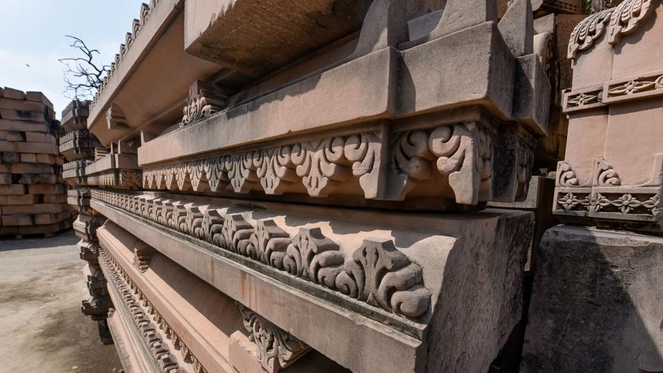 Carved stone at Ram Janmabhoomi Nyas Karyashala in Ayodhya.