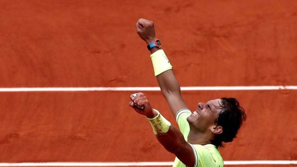 FILE PHOTO: Tennis - French Open - Roland Garros, Paris, France - June 9, 2019. Spain's Rafael Nadal celebrates after his final match against Austria's Dominic Thiem. REUTERS/Benoit Tessier/File Photo