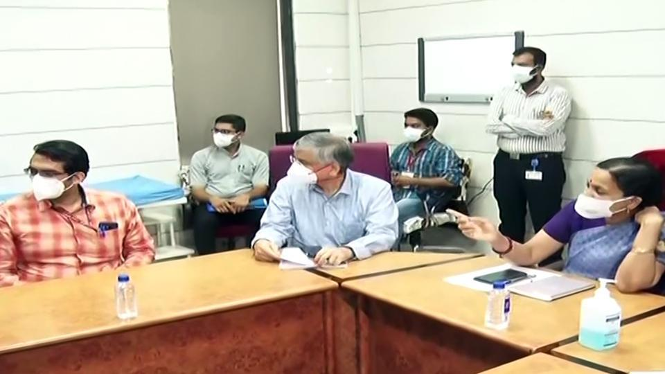 Dr Randeep Guleria, Director of All India Institute of Medical Sciences (AIIMS) meets doctors of Ahmedabad Civil Hospital to give them advice on Covid treatment, at Ahmedabad on May 9, 2020.