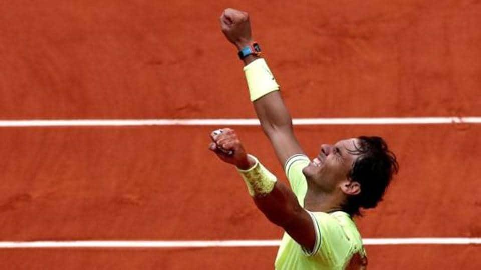 Spain's Rafael Nadal celebrates after his final match against Austria's Dominic Thiem.
