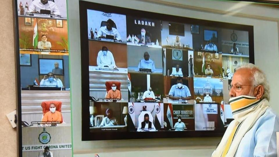 Prime Minister Narendra Modi holding a video conference with chief ministers on Monday.
