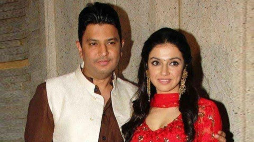 T-Series' chief Bhushan Kumar with wife Divya Kumar.