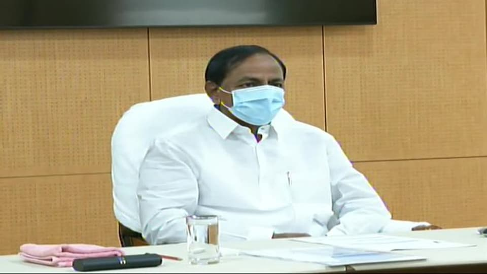 Telangana Chief Minister KChandrashekhar Rao at  Prime Minister Narendra Modi's video conference with chief ministers on Monday.