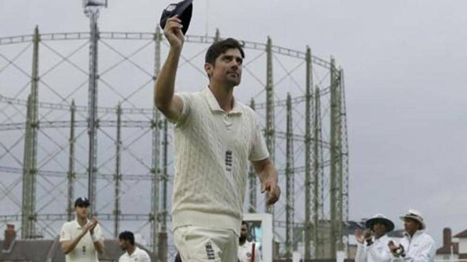 London: England's Alastair Cook, at the end of his last ever match before retiring from test cricket, raises his cap as he walks off at the end Test match against India