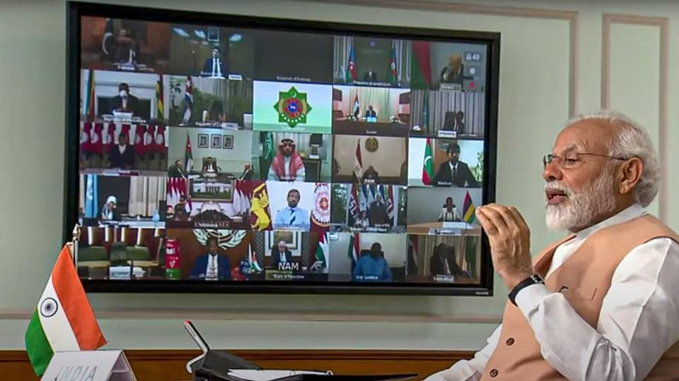 Prime Minister Narendra Modi speaks during the Non-Aligned Movement (NAM) Summit via video conference, to discuss the response to the Covid-19 pandemic and crisis related to it, in New Delhi, Monday, May 4, 2020