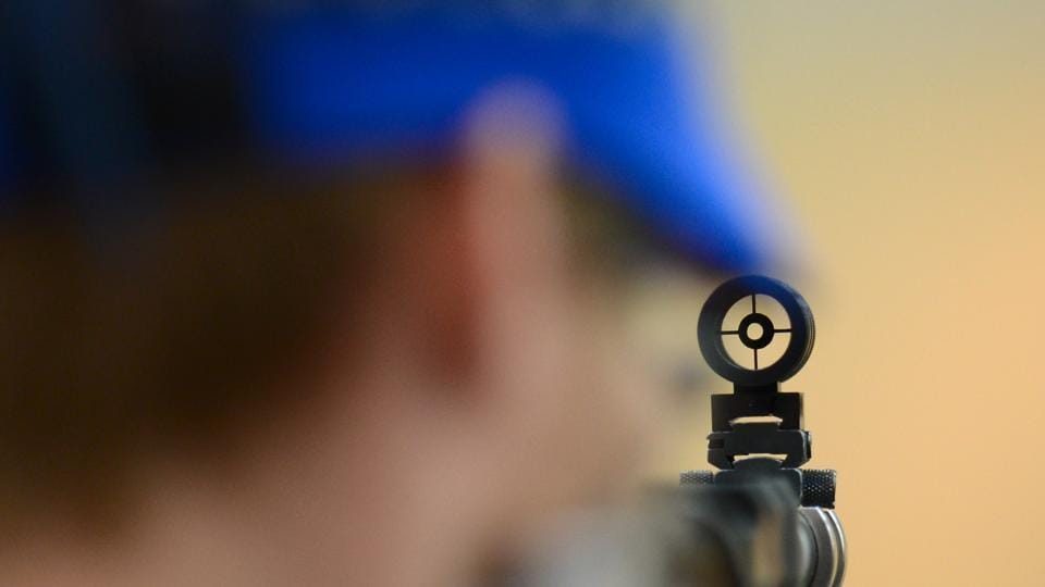A detailed view of a sight during the Men's 10m Air Rifle qualification on Day 3 of the London 2012 Olympic Games at The Royal Artillery Barracks on July 30, 2012 in London, England.