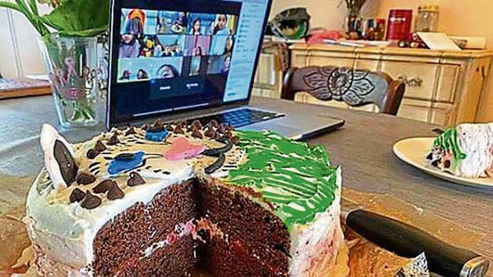 Shweta Rane, 29, cuts a cake with friends via Zoom, at her surprise birthday party. It began with an e-invite popping up in her mentions; then came a pre-recorded video, a live quiz about her, and puzzles.