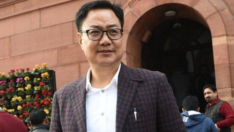 MoS Home Kiren Rijiju at the Parliament during Budget Session of Parliament in New Delhi.
