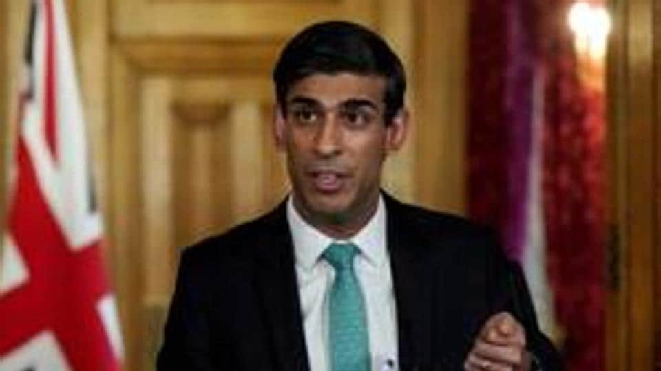 Britain's Chancellor Rishi Sunak holds a digital coronavirus disease (COVID-19) news conference with Deputy Chief Medical Officer, Dr Jenny Harries (not pictured) at 10 Downing Street, in London, Britain March 26, 2020.