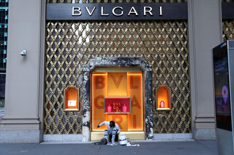 A street drummer is seen outside the closed Bvlgari jewelry store on 5th Avenue, during the outbreak of the coronavirus disease (COVID-19). (Representational image originally from New York.)