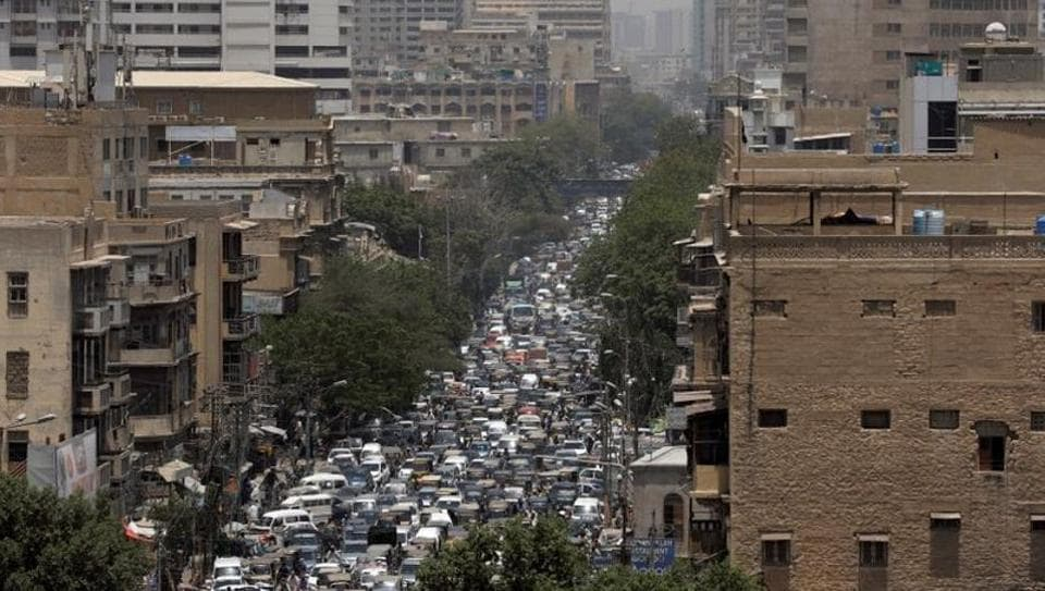 A general view of a road traffic in Karachi on Monday after Pakistan started easing Covid-19 lockdown.
