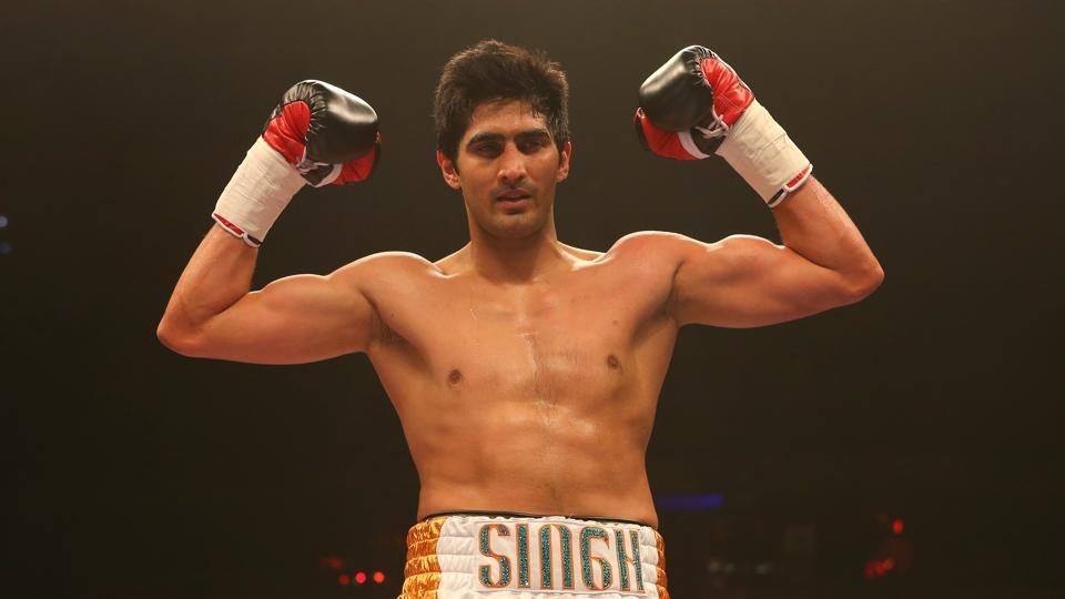 Vijender Singh celebrates beating Alexander Horvath during their Middleweight contest at the Echo Arena.