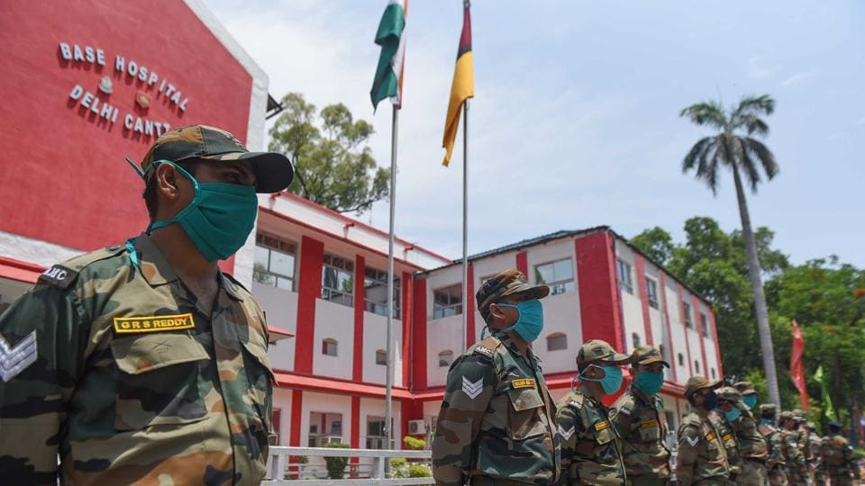 Army personnel seen wearing protective masks at Army Base Hospital, Delhi Cantt in New Delhi, India.