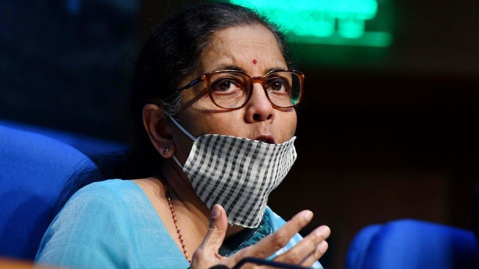 Union finance minister Nirmala Sitharaman briefs the media on economic package in New Delhi on Wednesday.