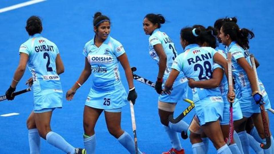 Rani of India celebrates scoreing her sides first goal with team mates during the FIH Womens Hockey World Cup Pool B game.