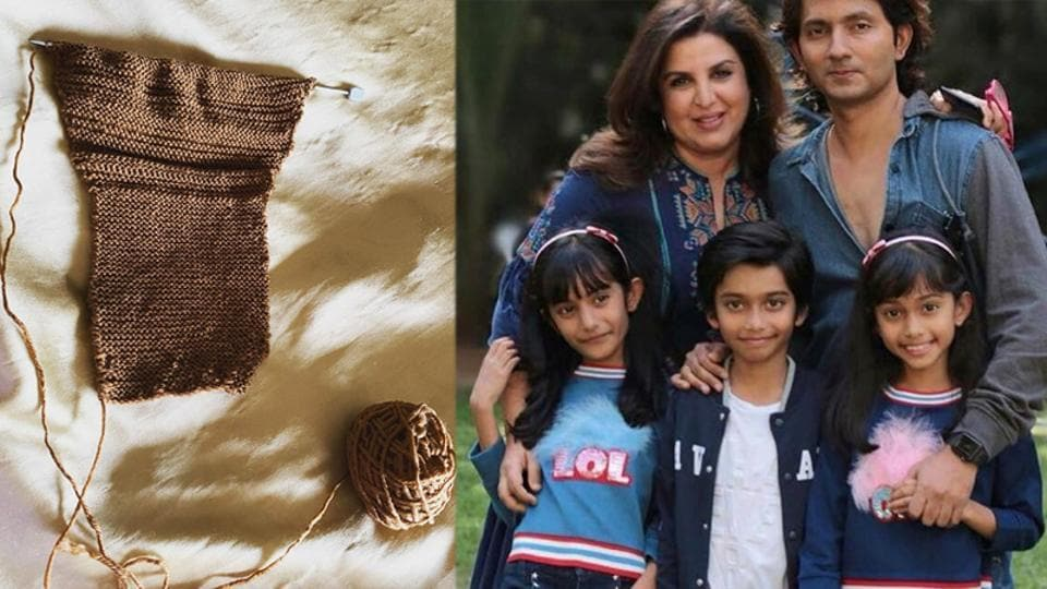 Farah Khan has shared a product of her knitting skills.