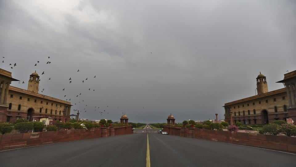 A view of the deserted Raisina Hills as clouds hover the skies during nationwide lockdown, in New Delhi.