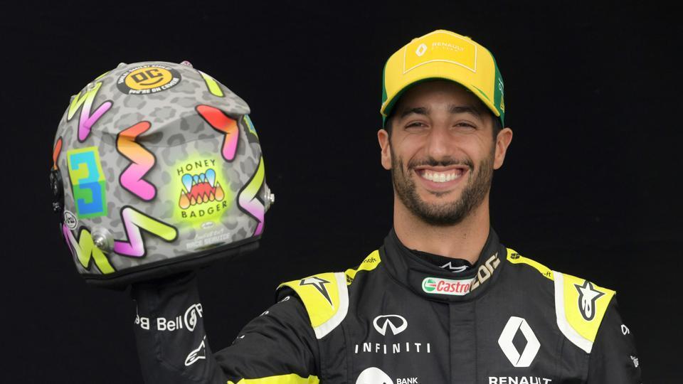 Renault's Daniel Ricciardo poses for a drivers portrait.