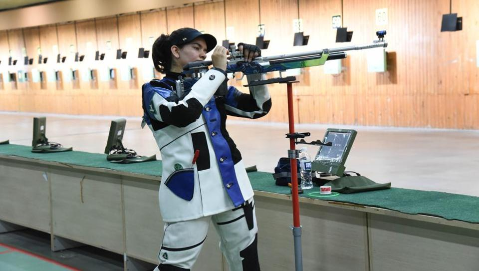 Anjum Moudgil in action during trials at 10m shooting range at shiv chhatrapati sports complex, in Pune.