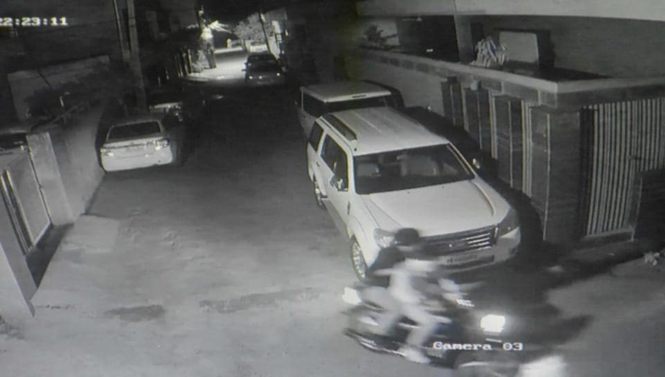 A grab of the closed-circuit television camera footage showing the assailants fleeing the spot after the attack in Janta Colony on Wednesday night.