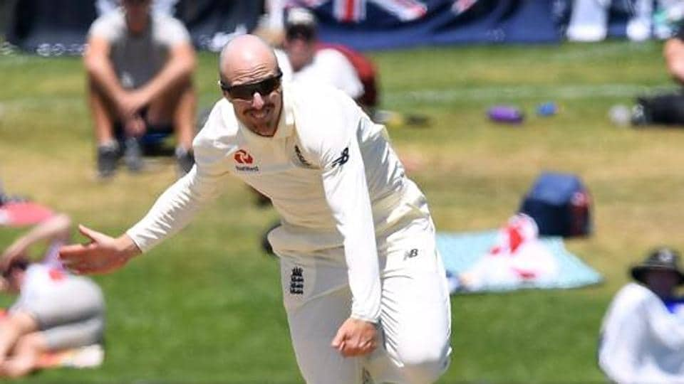 England's Jack Leach in action