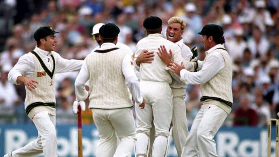 Shane Warne celebrates after his 'ball of the century'