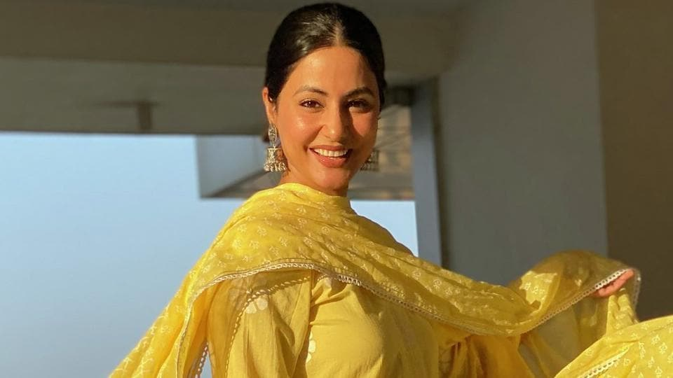 Actor Hina Khan has been dolling up at home, flaunting her best traditional looks