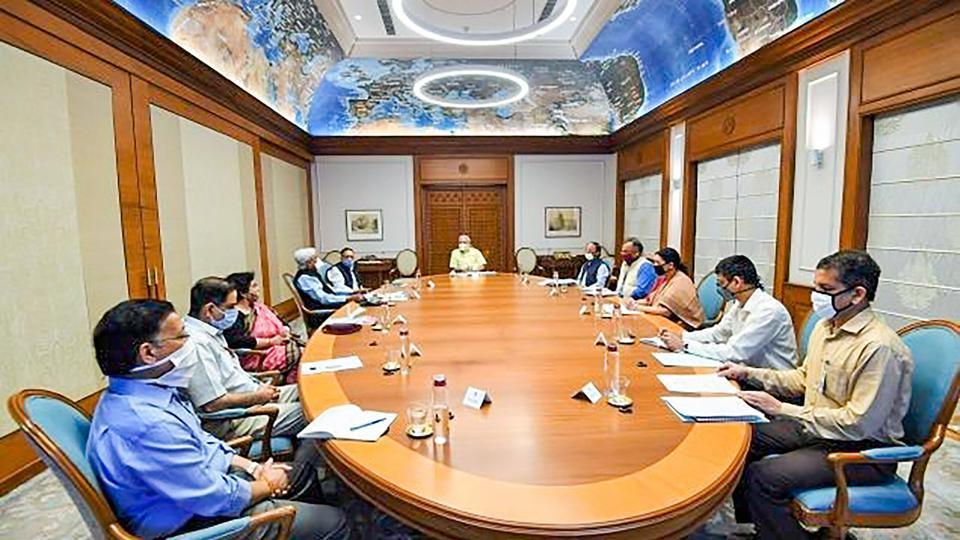 Prime Minister Narendra Modi chairs a meeting of the task force on coronavirus vaccine development held on April 05, in New Delhi.