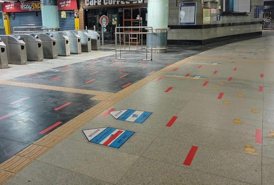 The Delhi Metro has already started placing markers on station floors and platforms to earmark space for passengers.