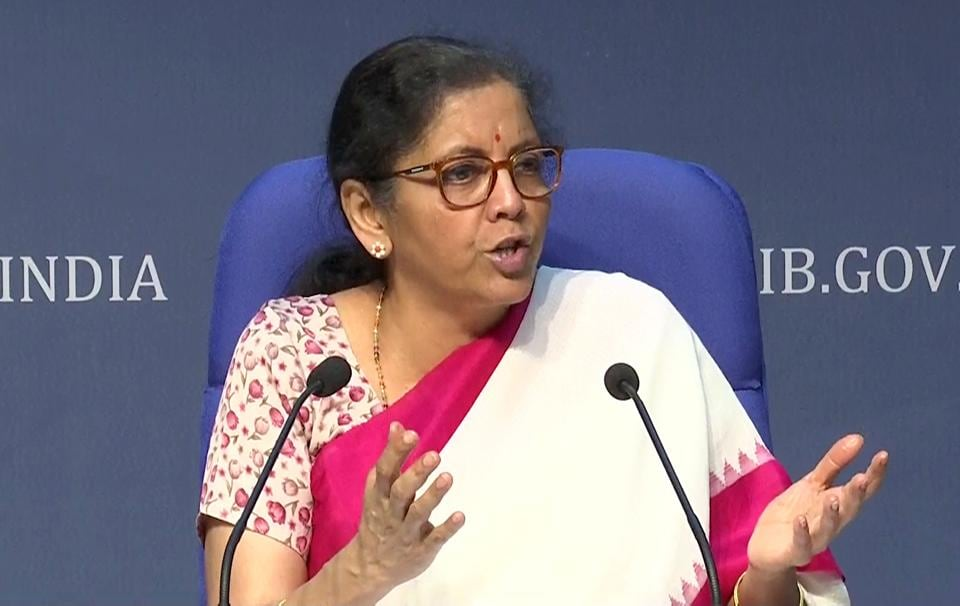 Union finance minister Nirmala Sitharaman announcing structural reforms in eight sectors as part of special economic package