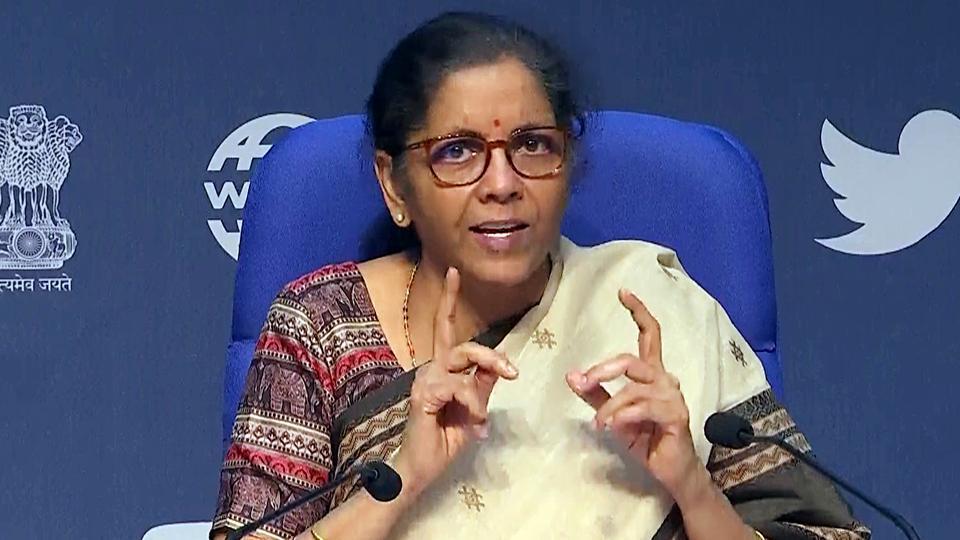 New Delhi, May 16 (ANI): Union Finance Minister Nirmala Sitharaman addresses a press conference at Media Centre in New Delhi on Saturday. (ANI Photo)