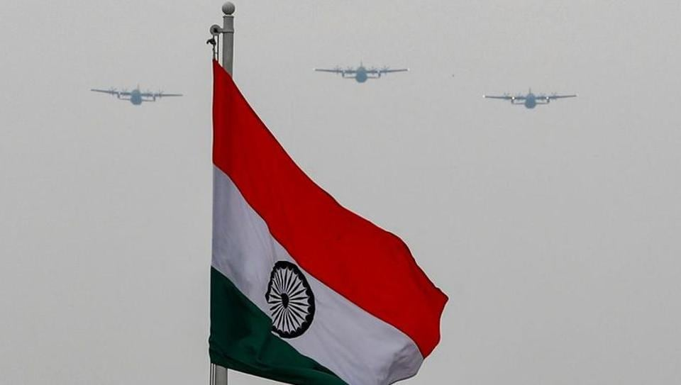 Indian Air Force aircrafts fly over Rajpath to show solidarity with frontline warriors fighting against the coronavirus disease (COVID-19) in New Delhi, India, May 3, 2020.