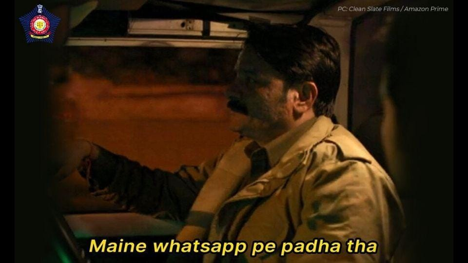 The image shows the Pataal Lok meme shared by Mumbai Police.