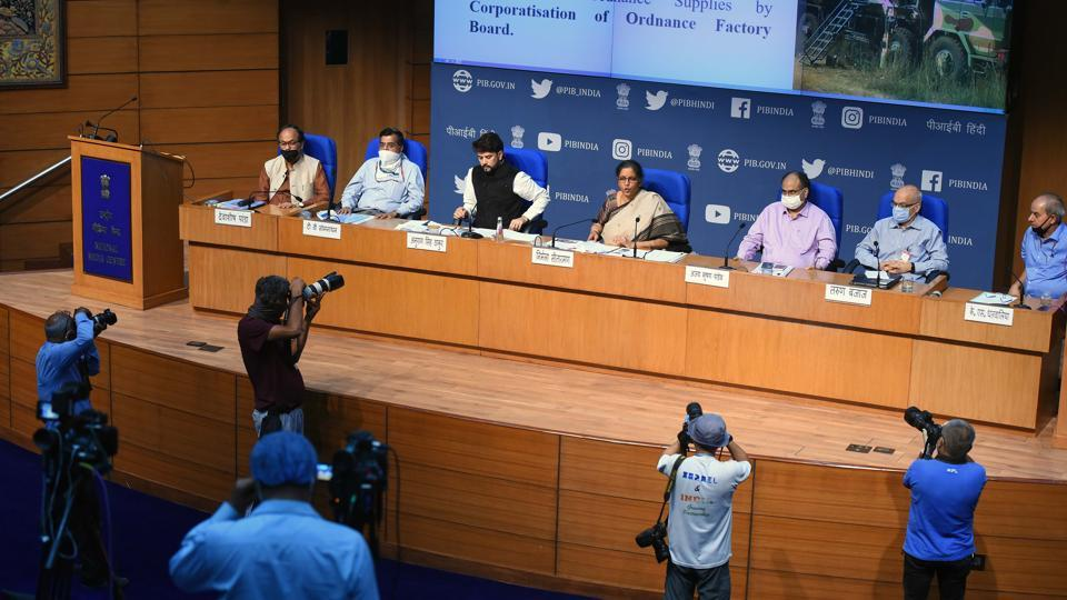 Union Finance Minister Nirmala Sitharaman addresses the media during the fourth briefing on Centre's economic stimulus package in the presence of her team, in National Media Center, New Delhi.