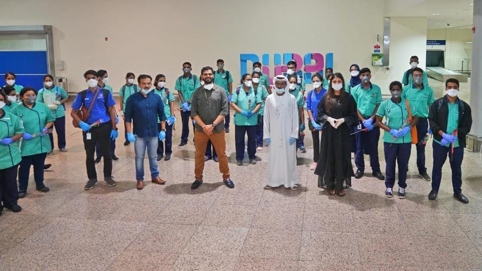 Medical professionals on their arrival in Dubai
