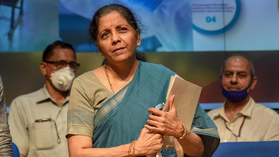 Union Finance Minister Nirmala Sitharaman leaves after announcing the fifth and final tranche of economic stimulus package during a press conference, at the National Media Centre in New Delhi.