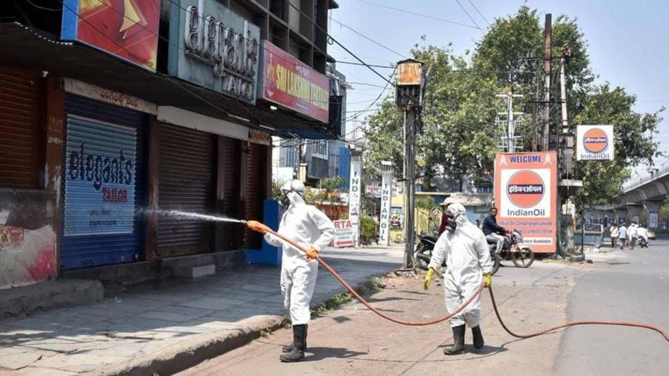 DRF teams of GHMC swung into action by spraying disinfectants at the Malakpet area during the countrywide lockdown amid coronavirus outbreak, in Hyderabad on Mar 26, 2020.