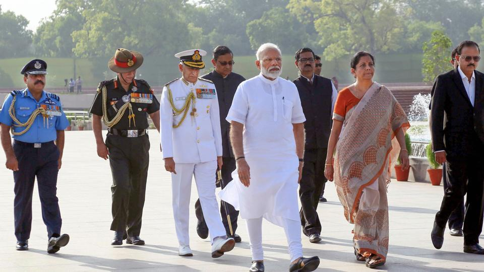 Finance minister Nirmala Sitharaman believes that the Rs 20 lakh crore economic package to lift the economy out of the slump caused by the pandemic will lay foundations for a stronger economy and spur growth. In this file picture, PM Modi along with Union finance minister Nirmala Sitharaman arrives to pay tribute at the War Memorial.