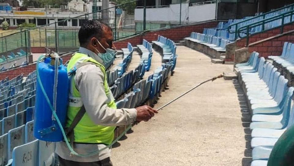 Disinfectant being sprayed in stands.