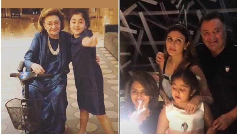 Riddhima Kapoor Sahni shared two pictures; in one, her daughter Samara poses with her late grandmother Krishna Raj Kapoor and in another, she is with Neetu Kapoor, Rishi Kapoor and Riddhima.