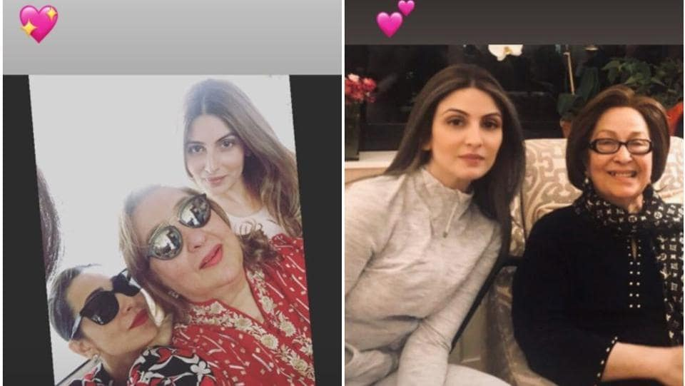 Riddhima shared pictures with her aunts - in one (right), she poses with late Ritu Nanda, mother-in-law of Shweta Bachchan Nanda and in another, she poses with Rima Jain and cousin, Karisma Kapoor.