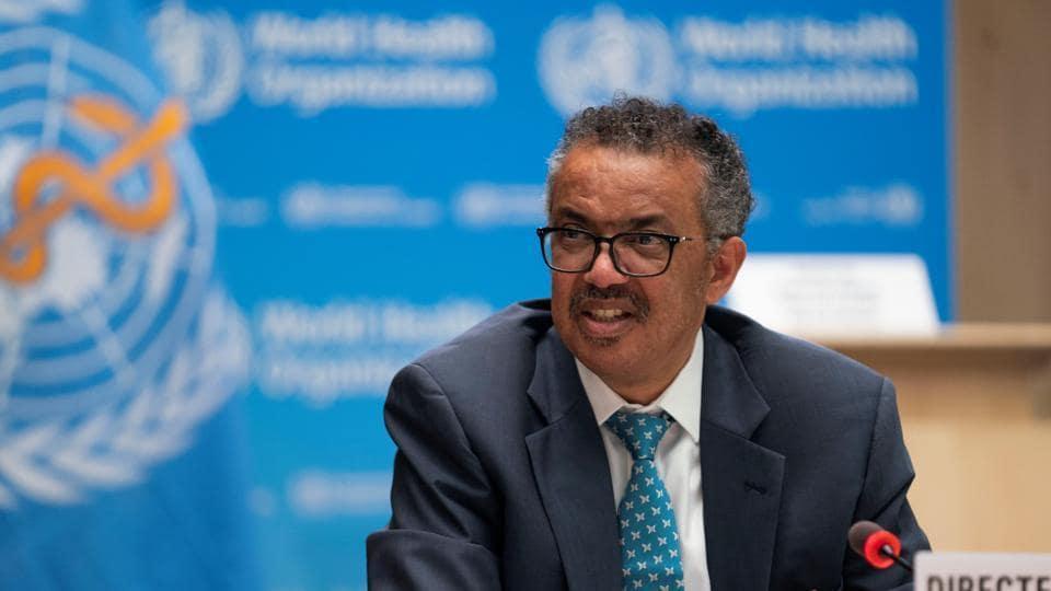 Tedros Adhanom Ghebreyesus, director general of World Health Organisation attends the virtual 73rd World Health Assembly (WHA) following the coronavirus disease outbreak, in Geneva, Switzerland, on May 18.
