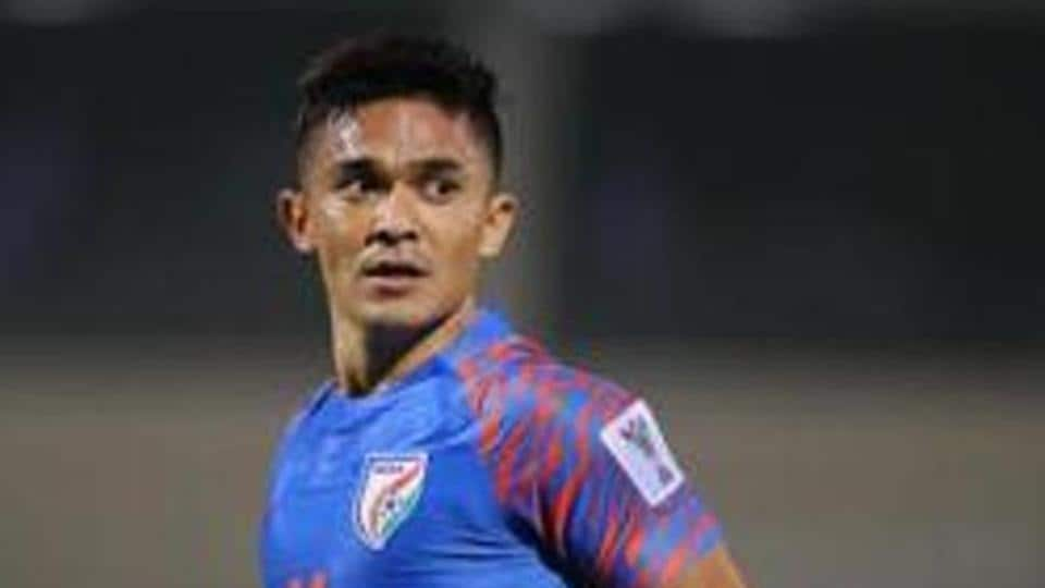 Sunil Chhetri of India in action during the AFC Asian Cup Group A match between India and Bahrain at Sharjah Stadium on January 14, 2019 in Sharjah, United Arab Emirates.