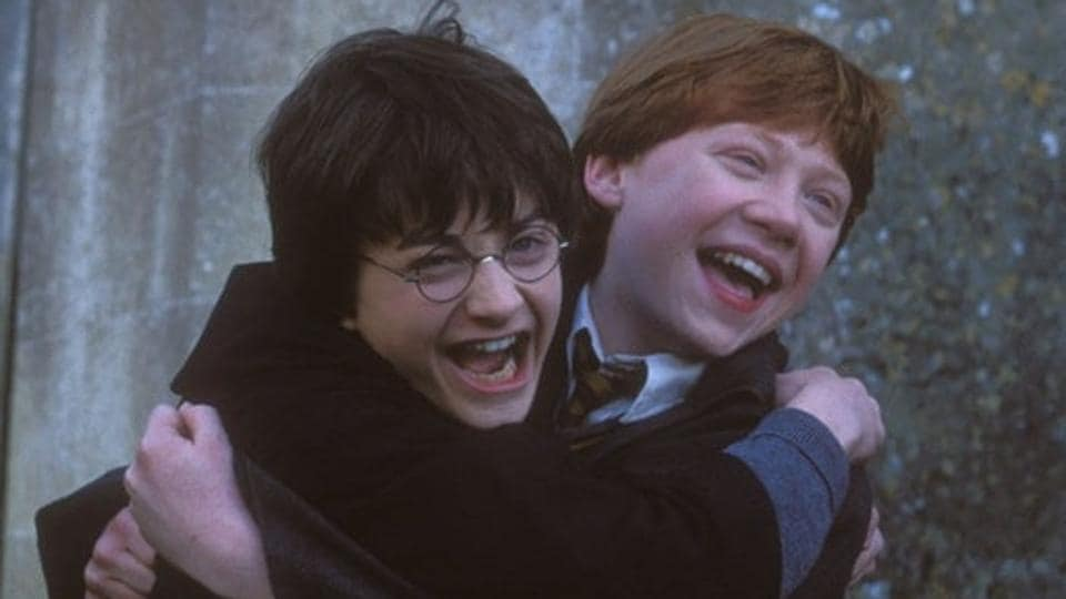 Daniel Radcliffe and Rupert Grint played best friends Harry and Ron in the Harry Potter films.