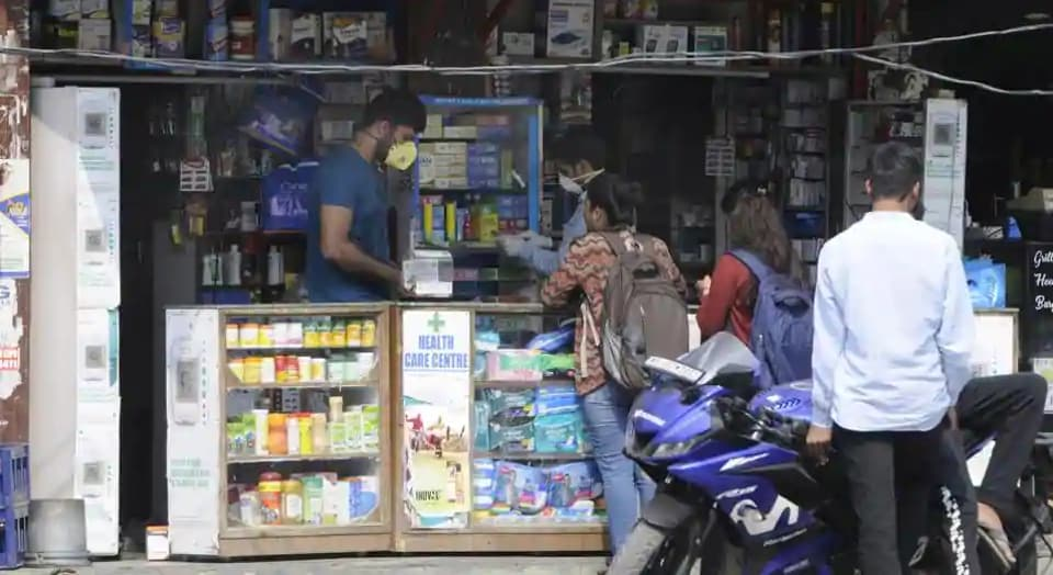 People seen at a chemist shop, in Noida, India, on Wednesday, March 04, 2020. (Sunil Ghosh / Hindustan Times)