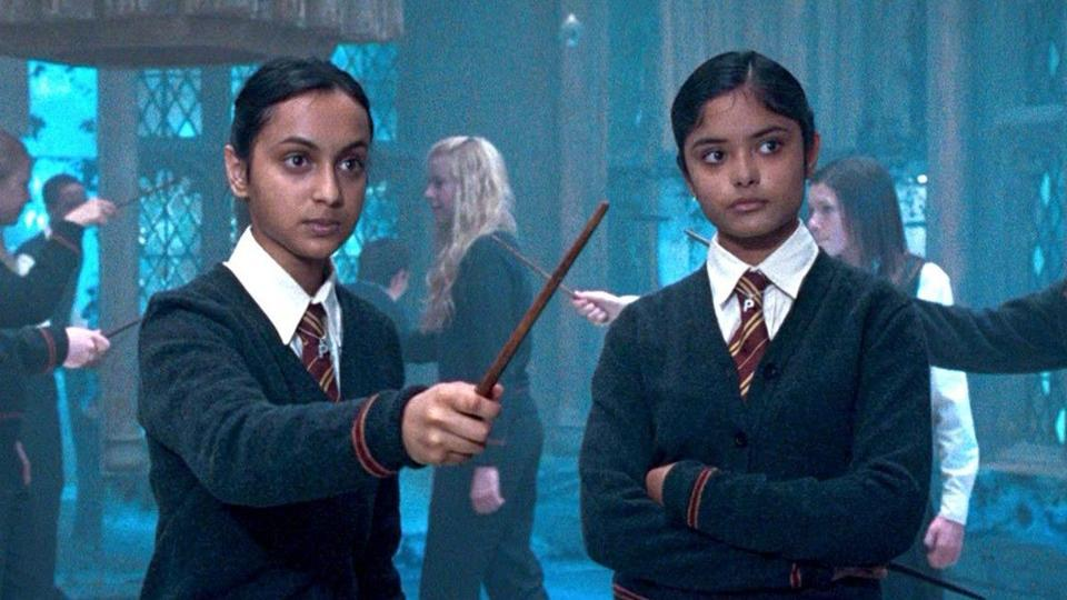 Shefali Chowdhury and Afshan Azan as Parvati and Padma Patil in a still from Harry Potter and the Order of the Phoenix.